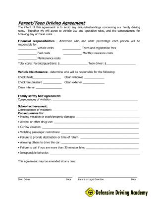 Parent/Teen Contract